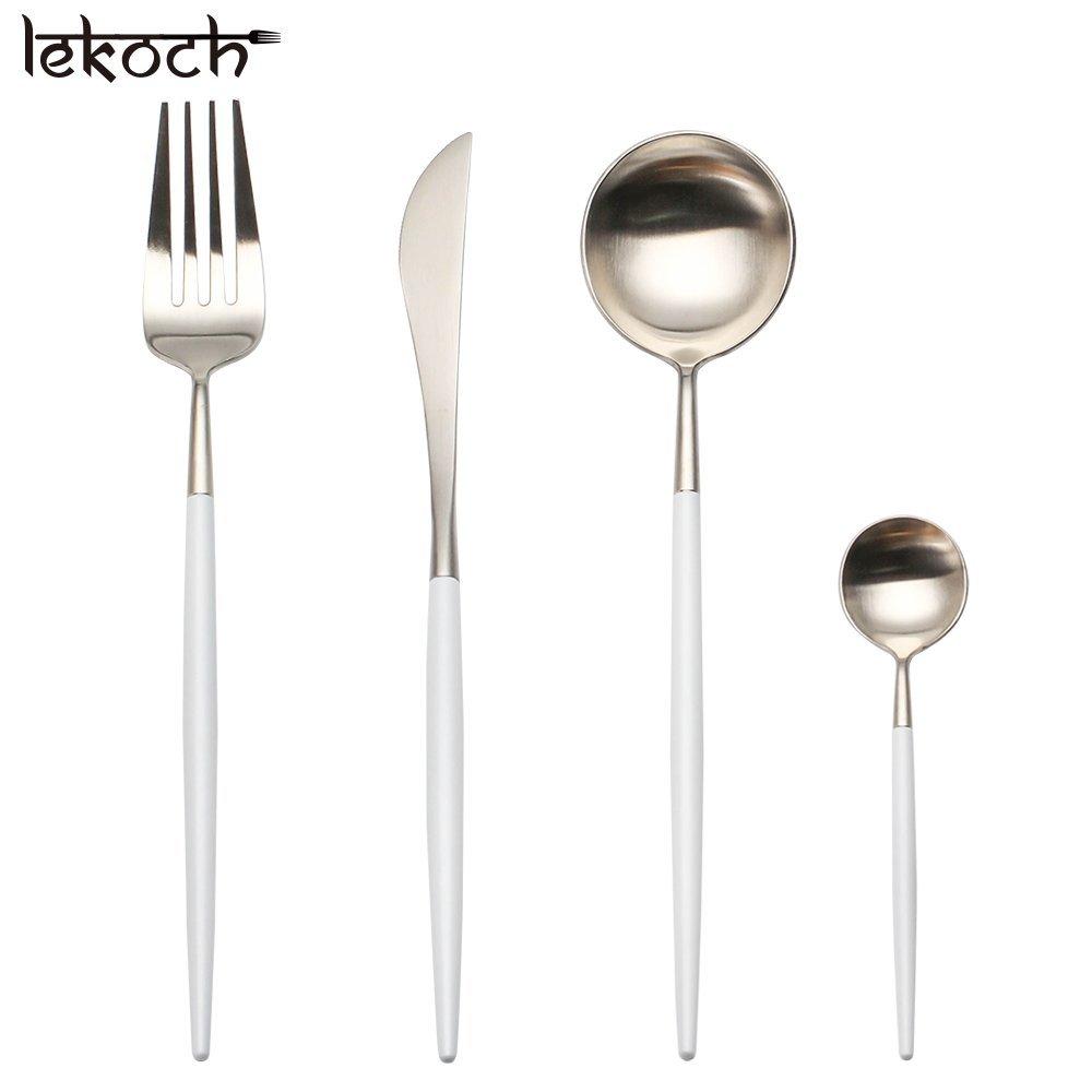LEKOCH Cubiertos de acero inoxidable de 18/10, 4 piezas, que incluyen tenedores, cubiertos de cuchillos, cucharas para 1 (blanco y plata): Amazon.es: Hogar