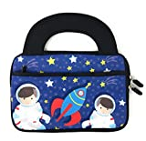 iPad mini slim tablet case for kids - universal neoprene carrying bag dual handles boys or girls - zipper bag sleeve will fit most 6 7 8 inch devices water scratch and dust proof (space astronaut)