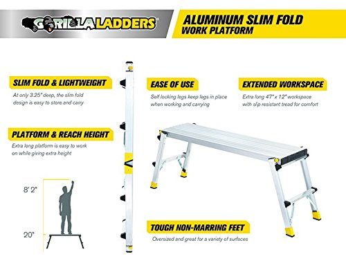 47.25'' x 12'' x 20'' Aluminum Slim-Fold Work Platform with 250 lb. Load Capacity by Gorilla Ladders (Image #3)