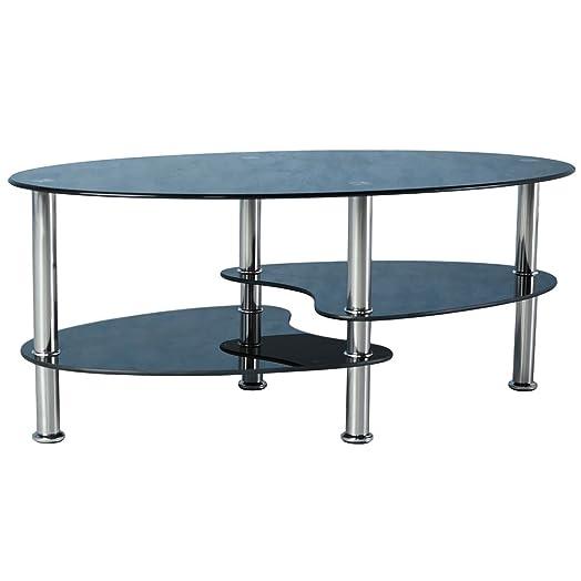Cara Black Glass Coffee Table With Chrome Legs
