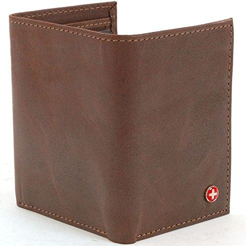 *NEW* Alpine Swiss Mens Trifold Wallet Genuine Leather Card Case ID Window Billfold NW BROWN