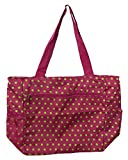 Cheap Large Tote Bag | 13.5 Inch Shopping or Beach Bag by Unique Traveler (Polka Dots-Pink and Green)