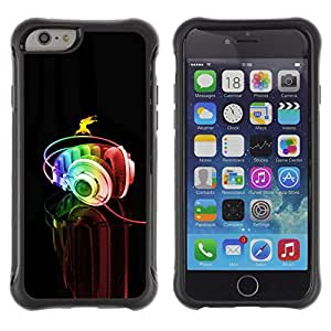 All-Round híbrido Heavy Duty de goma duro caso cubierta protectora Accesorio Generación-II BY RAYDREAMMM - Apple iPhone 6 - Headphones Colorful Music Art Rainbow Dance
