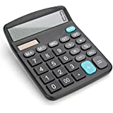 Bear Motion Standard Function Desktop Handheld Calculator Large 12-Digit Display - Battery Required/with Solar Panel as Secondary Power Source