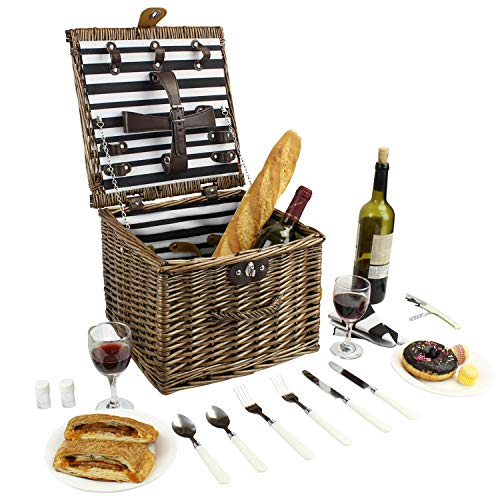 Home Innovation Wicker Picnic Basket, Willow Picnic Hamper Set for 2 Persons, Square-Shaped Picnic Basket with Dining Tools, Perfectly in Weddings, Beach Trips, Picnics