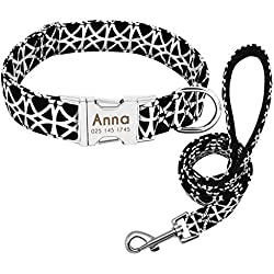 Dog Collar Custom Nylon Puppy Cat Dog Tag Collar Leash Personalized Pet Nameplate ID Collars Adjustable for Medium Large Dogs,Black,L