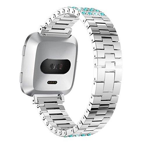 Oucan for Fitbit Versa Band, Luxury Stainless Steel Fitbit Versa Strap Alloy Crystal Rhinestone Diamon Bracelet for Fitbit Versa Smart Watch