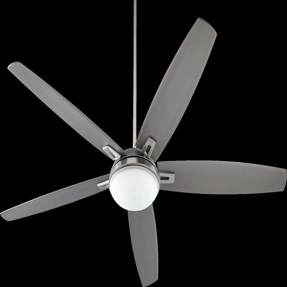 Quorum 81725-65, Vector Satin Nickel 72'' Ceiling Fan with Light & Wall Control by Quorum