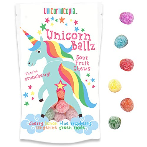 Unicorn Ballz Sour Candy - Fruity Rainbow Balls - MADE IN THE USA - Unicorn Gifts - Birthday Gifts for Women]()