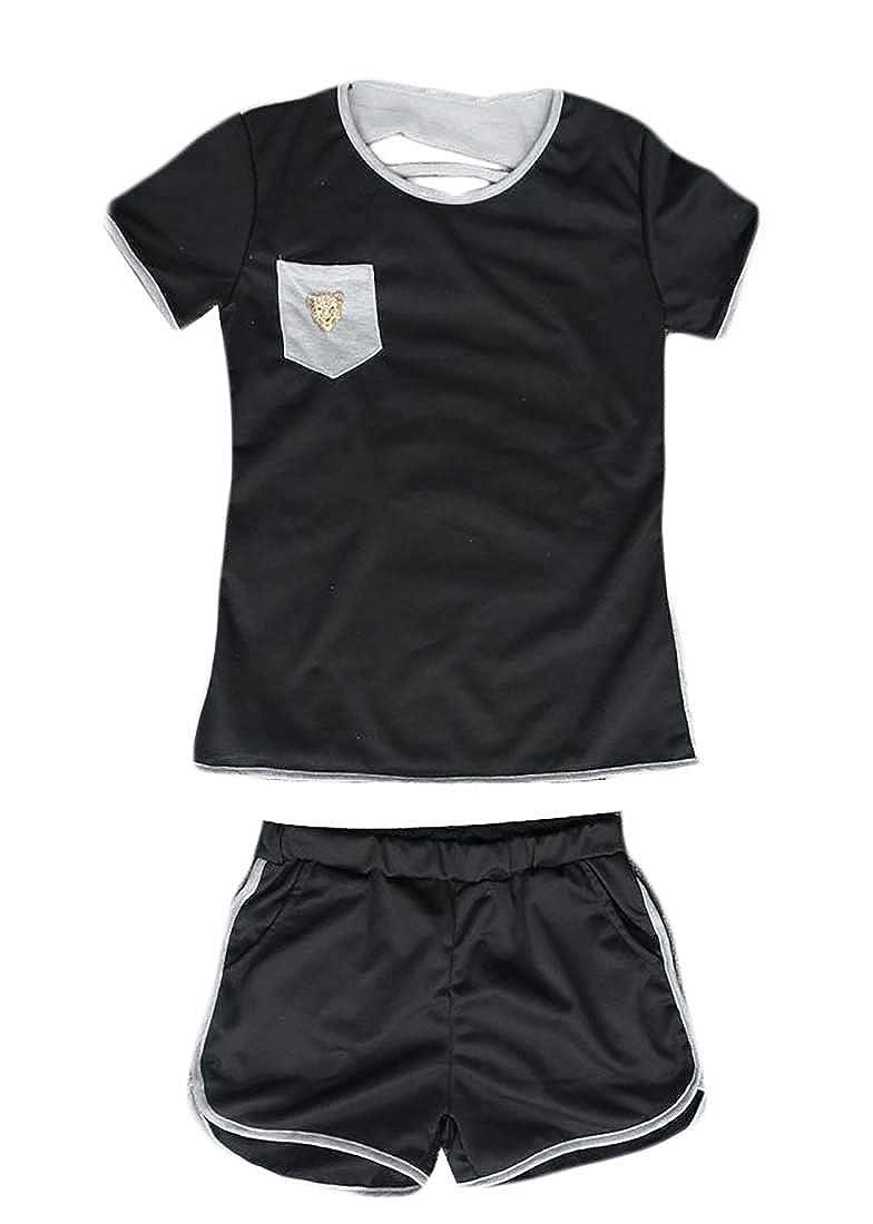 Pandapang Womens Fashion Tee V-Neck Short Sleeve Top Crop Lace T-Shirts