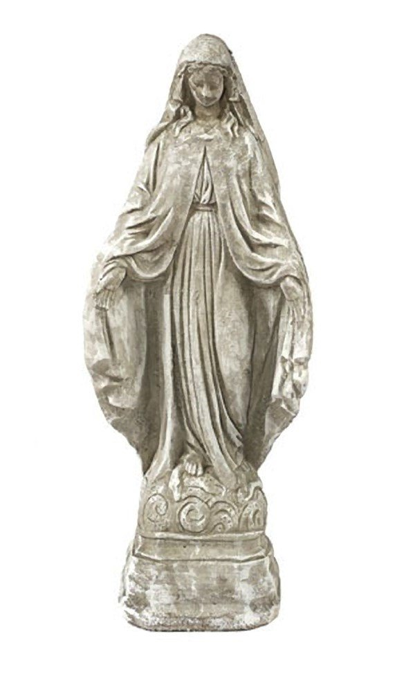 Solid Rock Stoneworks Virgin Mary Stone Garden Statue 18in Tall Marble Tone Color