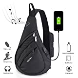 Sling Bag Chest Bags for Men and Women, Versatile Crossbody Shoulder Backpack for Bicycle Sport Hiking Travel Camping Bookbag with USB Charging Port and Waterproof L509 Black-USB