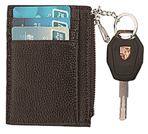 RFID Blocking Leather Slim Zipper Credit Card holder Wallet Card Case Purse (Coffee with keychain) (Slim Zipper)