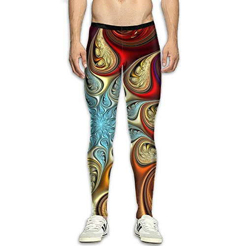 Virgo Mandala Kaleidoscope Warmth Compression Pants/Running Tights Panel Leggings Men Runners Side (Kaleidoscope Panel)