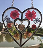 Friend Heart Friend Suncatcher with Pressed Flower Heart - Heart Suncatcher - Friend Gifts Gift for Friend's Day (4.754.75)