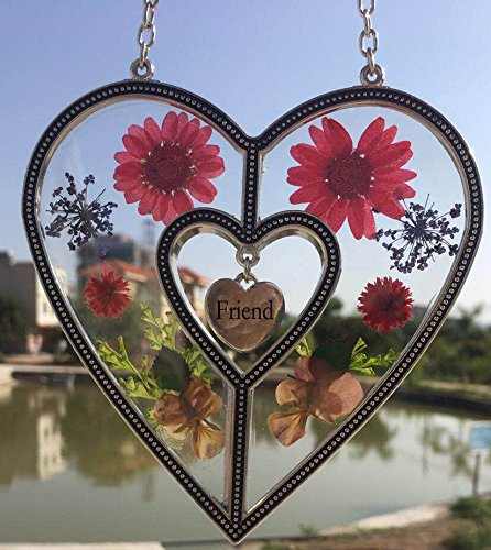 Friend Heart Friend Suncatcher with Pressed Flower Heart - Heart Suncatcher - Friend Gifts Gift for Friend's Day (4.754.75) by Tiffany Lamp & Gift Factory