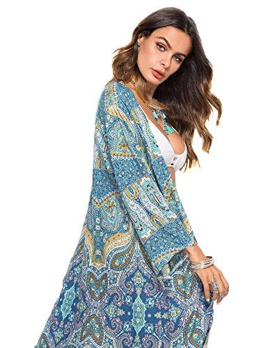 Sweatyrocks Cardigan Kimono Flowy Femmes Ouvrir Robe Maxi Avant Bleu # 2