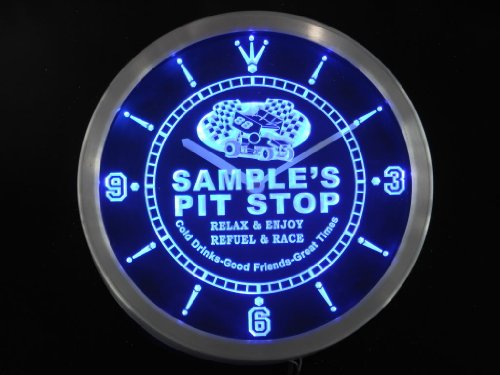 ncpu1777-b HORNE'S Pit Stop Car Race Room Pub LED Neon Sign Wall Clock
