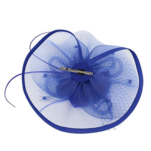 (Women Girl Vintage Mesh Feathers Pompom Hair Clip Hairpin Hat for Cocktail Wedding Tea Party)