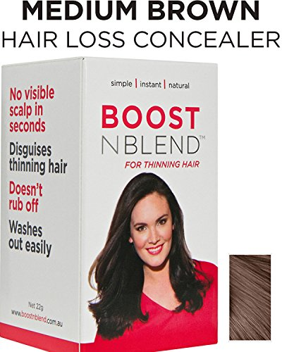 (BOOSTnBLEND Medium Brown Hair Loss Concealer for Women with Hair Loss. Covers up Visible Scalp for Visible Thinning Hair.. GET YOUR CONFIDENCE BACK.. 22g/0.78oz)