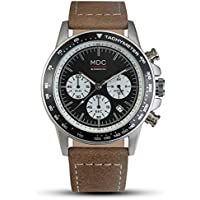 MDC Mens Brown Leather Watch Vintage Classic Business Chronograph Wrist Watches for Men with Date Display