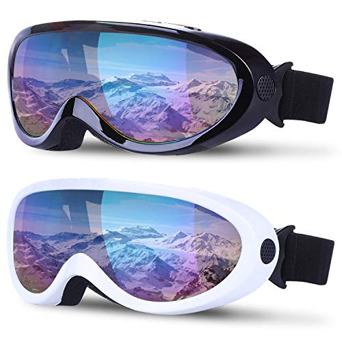 2 Pack Ski Snowboard Goggles Anti Fog Adjustable Snow Goggles for Women Kid
