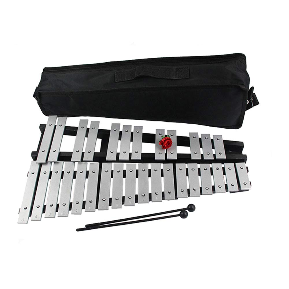Professional Glockenspiel 30 Notes Aluminum Bars Children Educational Percussion Musical Instrument with Mallet and Carrying Bag by Rakumi