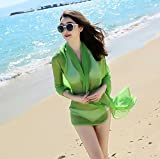Onlineb2c Women's Long Lmitated Silk Scarf Solid Color Beach Towel Green