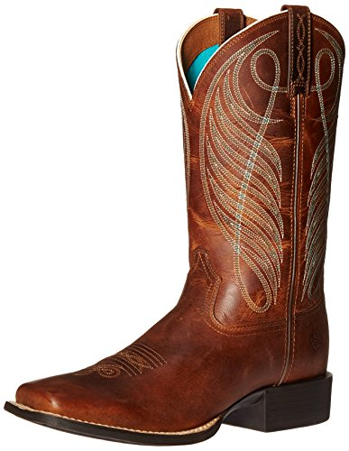 Ariat Women's Round Up Wide Square Toe Western Cowboy Boot, Powder Brown, 9 B -