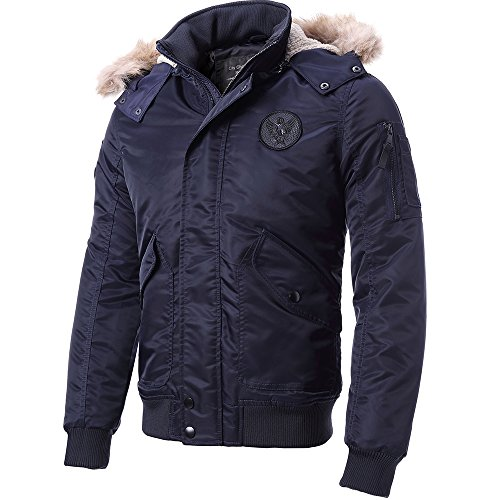 FLY HAWK Men's Casual Warm Arctic Cloth Anorak Coat With Removable Faux Fur-Trimmed Hood For Winter Fall Navy Blue US (Arctic Fur Coat)