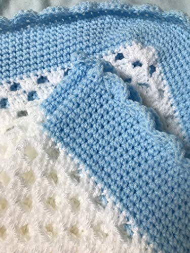 White and Blue Crocheted Blanket Throw