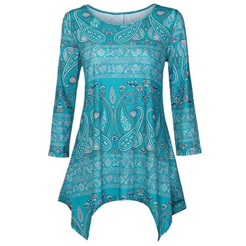 3 Irrégulier Femme Ciel Shirt À 4 Col Aimee7 Blouse Manche Rond Floral Bleu T Ourlet Imprimé waqAWnZ7X