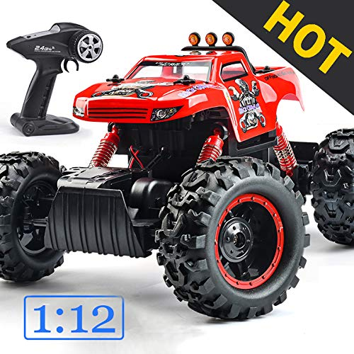 Remote Control Trucks Monster RC Car 1: 12 Scale Off Road Vehicle 2.4Ghz Radio Remote Control Car 4WD High Speed Racing All Terrain Climbing Car Toys Car Gift for Boys (Red) (Best Remote Control Monster Truck)