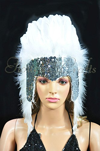 Hot-Fans Sequins Las Vegas Dancer Showgirl Headpiece, White