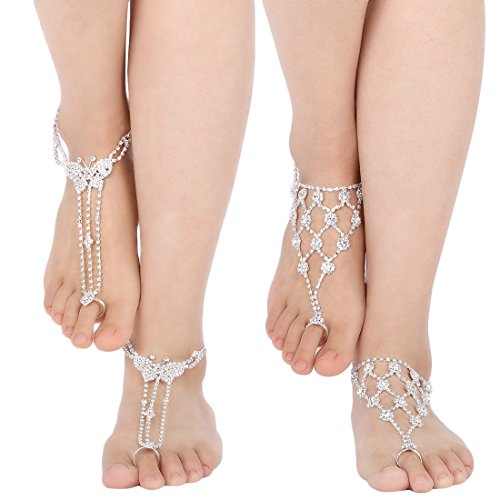 kilofly 2 Pairs Rhinestone Foot Jewelry Barefoot Sandal Beach Wedding Anklet Set