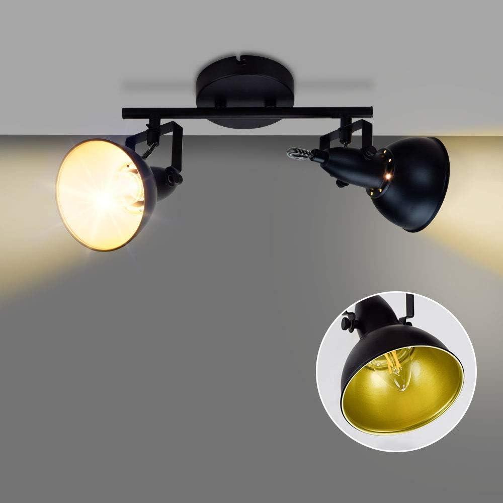 DLLT Industrial Track Light, Ceiling Track Lighting Fixture, 2-Light Adjustable Wall Spotlight for Kitchen, Bedroom, Dining Room, Office, Closet Room, E12 Base, Black