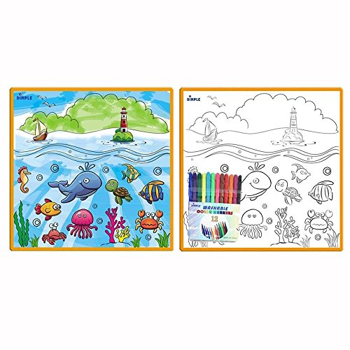 Kids Small Washable Coloring Play Mat with 'Fantastic Sea...