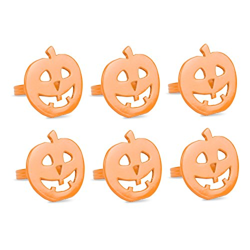 DII Thanksgiving or Fall Napkin Rings for Holiday or Halloween Parties, Themed Gatherings, or When Hosting a Scary Movie Night, Set Your Table With Style - Orange Pumpkin, Set of (Family Fun Halloween Yard Decorations)