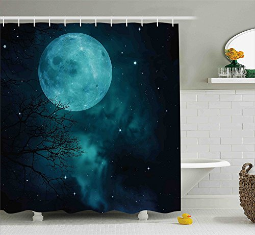 [Space Shower Curtain Moon on Starry Sky Universe Cosmos Space Themed Mystical Twilight Celestial Scenery Fabric Bathroom Decor Set with Hooks Petrol] (Vintage Pin Up Girl Costume Ideas)