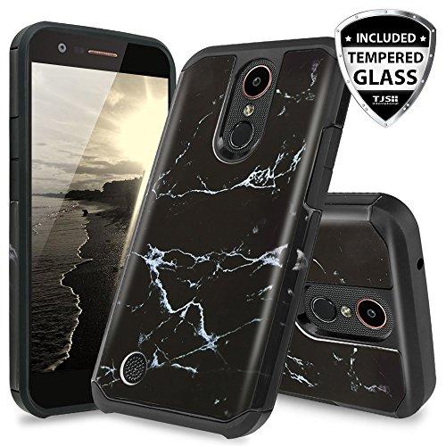 TJS LG Aristo 2/Aristo 2 Plus/Tribute Dynasty/Rebel 3 LTE/Zone 4/Fortune 2/Rebel 4/K8 Plus/Risio 3 Case, [Full Coverage Tempered Glass Screen Protector] Hybrid Shockproof Marble Phone Case (Black)
