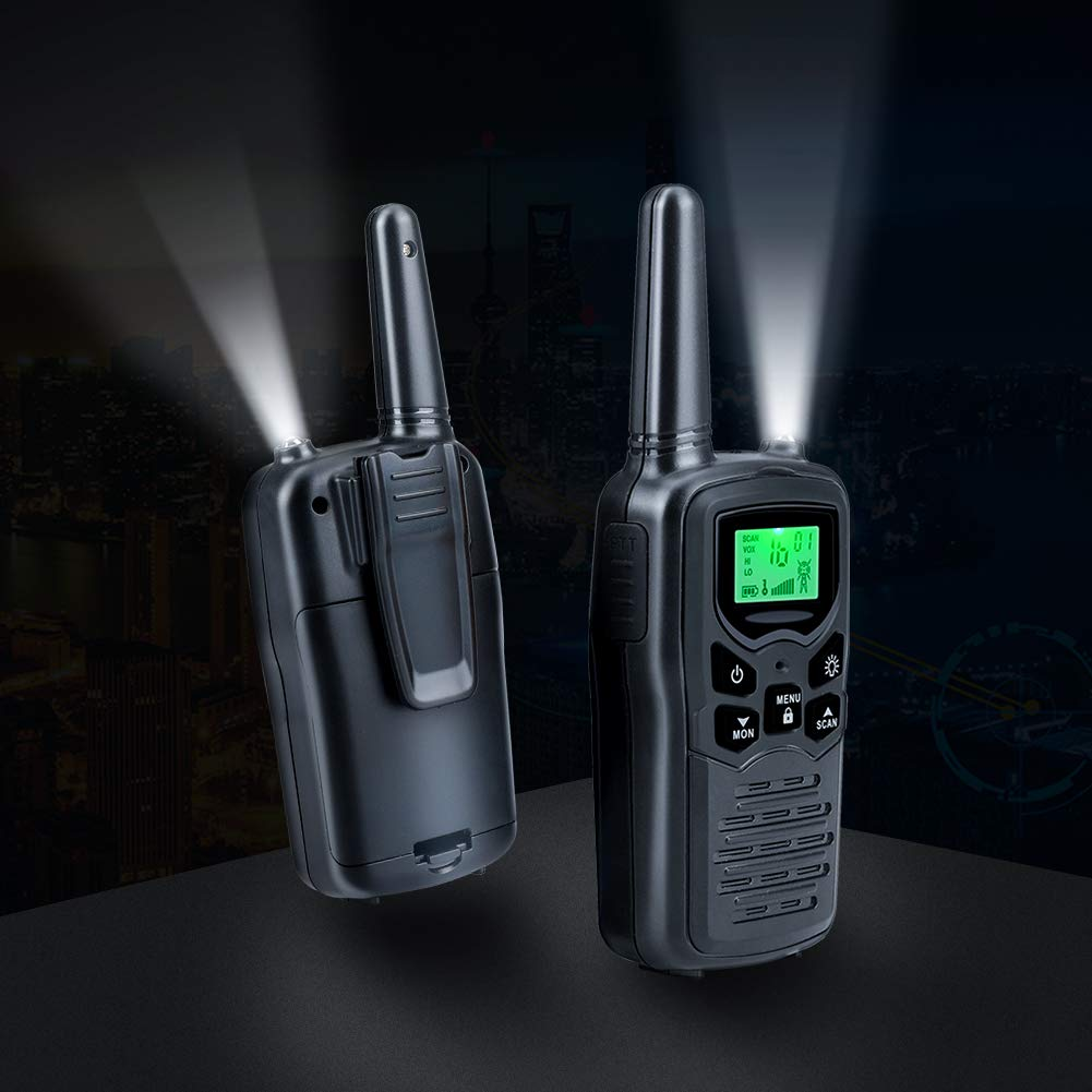 Survival Biking Hiking Camping(Black) Walkie Talkies Long Range for Adults Two-Way Radios Up to 5 Miles in Open Fields 22 Channels FRS//GMRS VOX Scan LCD Display with LED Flashlight Ideal for Field