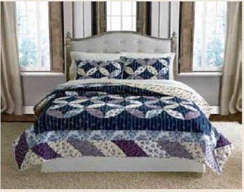 Keeco Luxury 100% Cotton Veronica Patchwork Quilt Set, Full/Queen