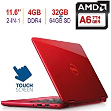 "2018 Dell Inspiron 11 3185 11.6"" 2-in-1 HD Touchscreen Laptop/Tablet PC, 7th Gen AMD A6-9220e up to 2.9GHz, 4GB DDR4 RAM, 32GB eMMC + 64GB SD, HDMI, WiFi, Bluetooth, MaxxAudio, Windows 10-Red"
