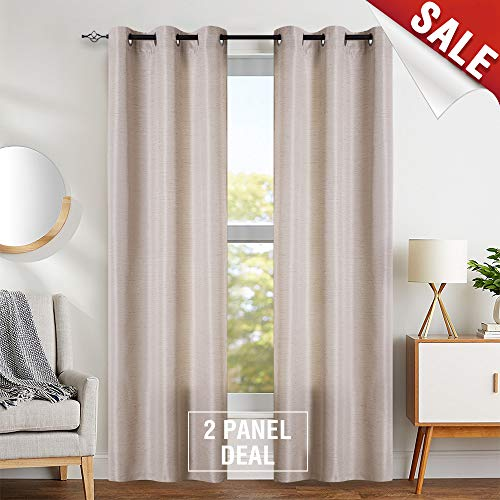 Linen Textured Jacquard Beige Curtains Living Room 84 inch Length Window Drapes Bedroom Curtain Set 2 Panels (Panel Jacquard)