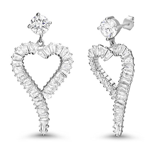 - 925 Sterling Silver Open Heart with CZ Baguette Stones Dangling Earrings