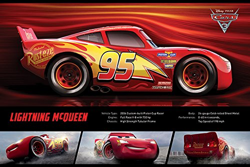 Cars 3 - Pixar / Disney Movie Poster / Print (Lightning McQueen - Stats) (Size: 36