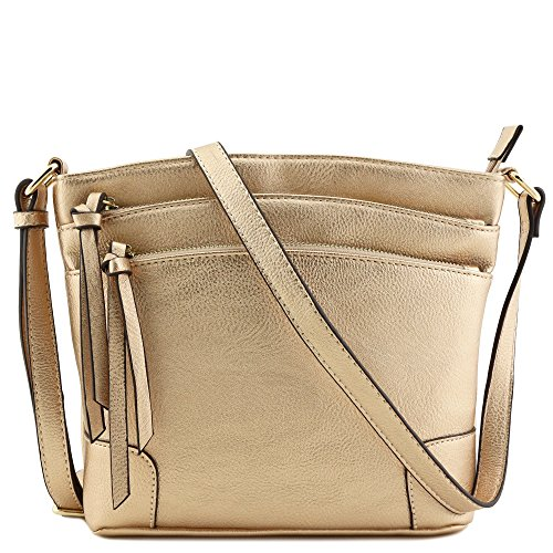 Small Messenger Handbags Gold - Triple Zipper Pocket Medium Crossbody Bag Rose Gold