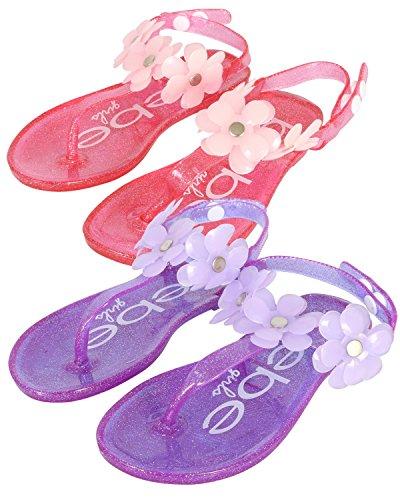 bebe Girls 2 Pack Flower Thong Jelly Sandals (Toddler/Little Kid), Fuchsia-Light Pink/Purple-Lilac, 5-6 M US Toddler' -