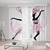 Latin Blackout Curtains,Silhouette of a Woman Dancing Samba Salsa Latin Dances Spain and Mexico Culture Print Decorative,Living Room Bedroom Curtain 2 Panels Set,104 W 63 L,Pink Black