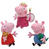 TY Beanie Babies - PEPPA PIG CARTOON (Set of 3 Peppa, Princess Peppa & George) (UK Exclusives)